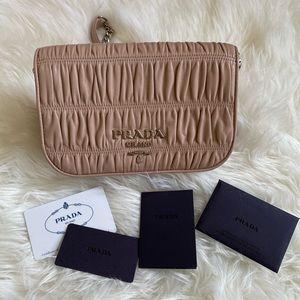 Authentic Prada Pattina Ruched Cross Body Bag